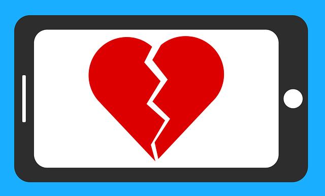 zlomené srdce v mobilu